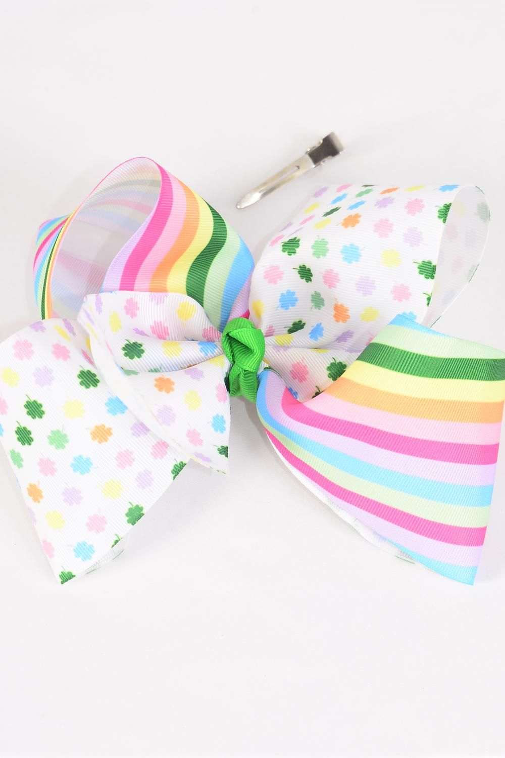 "Hair Bow Jumbo Cheer Type Bow Multi Clover & Stripes Grosgrain Bow-tie/DZ **Alligator Clip** Size-8""x 7"" Wide,Clip Strip & UPC Code"