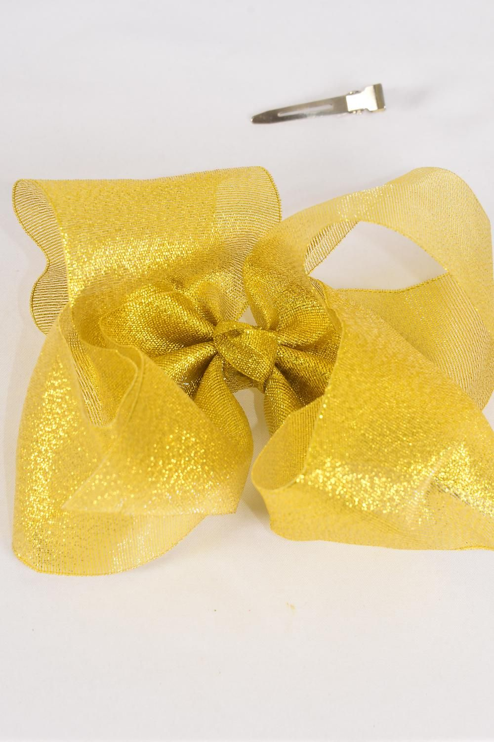 "Hair Bow Jumbo Cheer Type Bow Metallic Gold/DZ **Gold** Alligator Clip,Size-8""x 7"" Wide,Clip Strip & UPC Code"