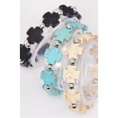 Bracelet Semiprecious Stone Cross  Silver Beads Stretch/DZ **Stretch** 4 Black,4 Ivory,4 Turquoise,4 of each Color Asst,Hang Tag & Opp Bag & UPC Code