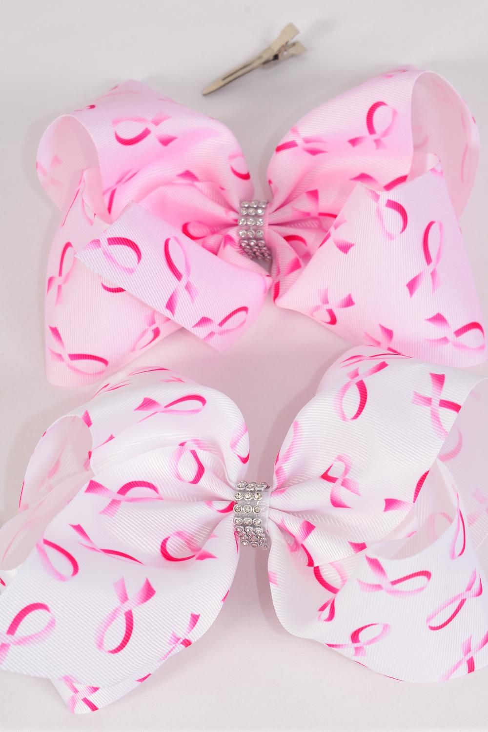 "Hair Bow Jumbo Cheer Type Bow Pink Ribbon Center Clear Stones Grosgrain/DZ **Alligator Clip** Size-8""x 7"" Wide,6 of Each Color Asst,Clip Strip & UPC Code"