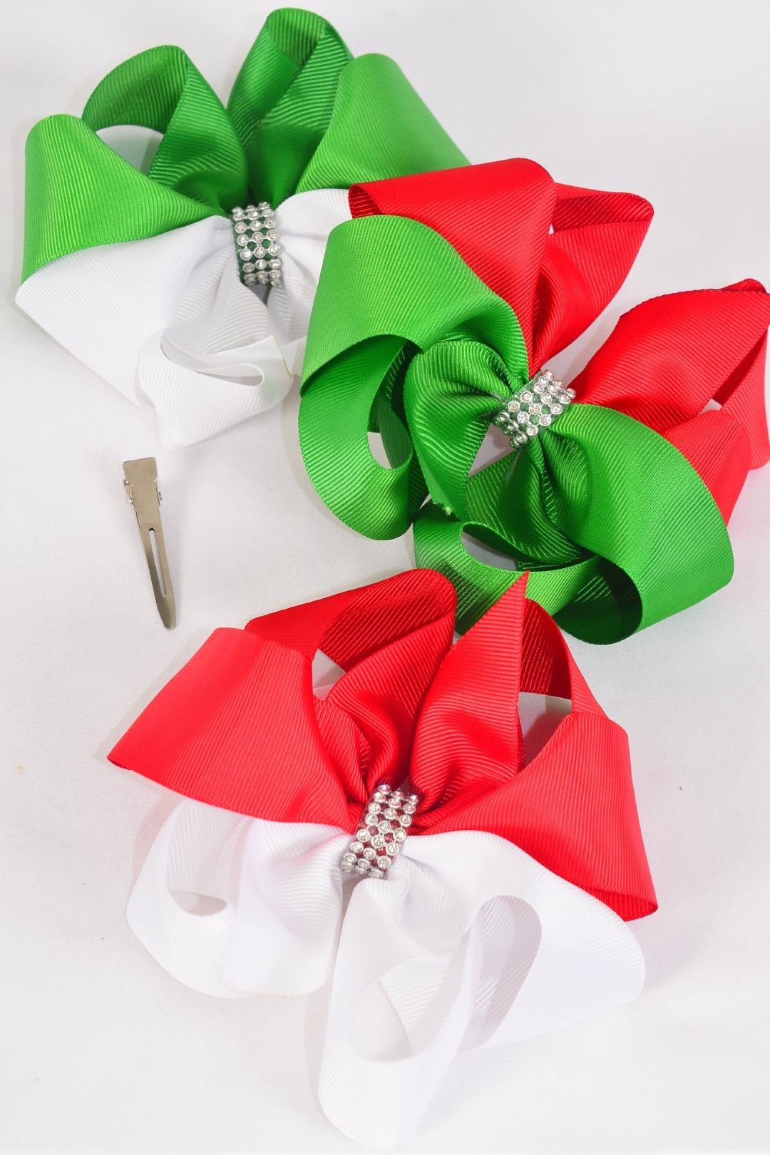 "Hair Bow Jumbo XMAS Center Clear Stones Grosgrain Bowtie/DZ **Alligator Clip** Size-6""x 6"" Wide,4 of each Color Asst,Clip Strip & UPC Code"