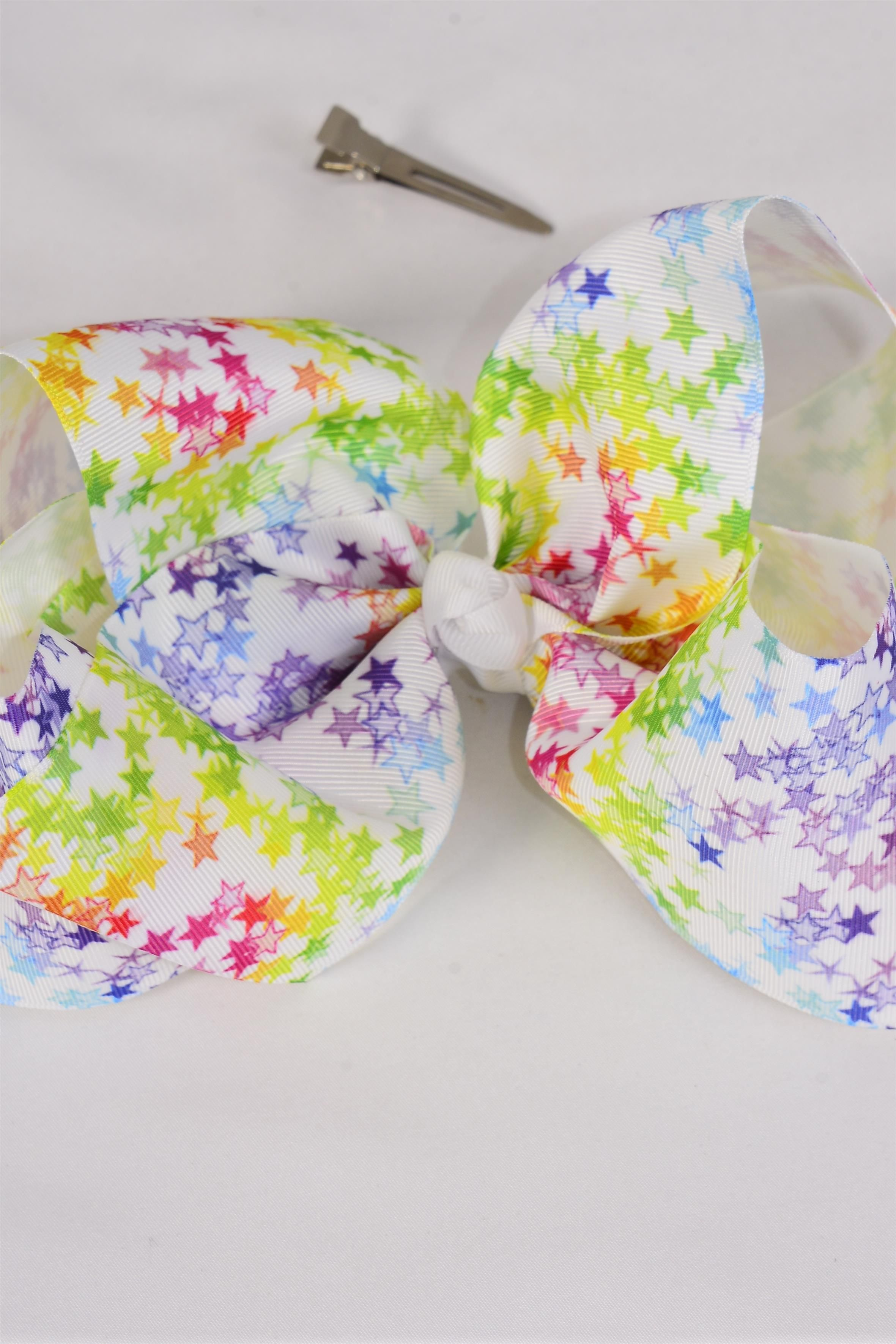 "Hair Bow Extra Jumbo Cheer Type Bow Multi Stars Tiedye Grosgrain Bow-tie/DZ **Alligator Clip** Size-8""x 7"" Wide,Clip Strip & UPC Code"