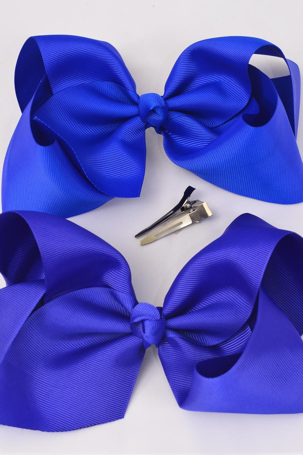 "Hair Bow Cheer Type Bow Alligator Clip Grosgrain Fabric Bow-tie Royal Blue Mix/DZ **Royal Blue Mix** Size-8""x 7"" Wide,Alligator Clip,6 of each Color Asst,Clip Strip & UPC Code -"