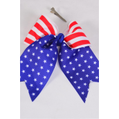 "Hair Bow Extra Jumbo Long Tail Cheer Type Bow Patriotic-Flag Grosgrain Bow-tie/DZ **Alligator Clip** Size-8""x 7"" Wide,Clip Strip & UPC Code"