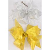 "Hair Bow Jumbo Double Layer Center Clear Stones Metallic G/S Asst/DZ **Alligator Clip** Size-6""x 5"" Wide,6 Gold,6 Silver Asst, Clip Strip & UPC Code"