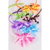 Headband Horseshoe Twirl Grosgrain Bow-tie Multi/DZ **Multi** 2 of each Color Asst,Hang Tag & UPC Code,W Clear Box