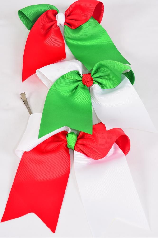 "Hair Bow Extra Jumbo Long Tail Cheer Type Bow XMAS Grosgrain Bow-tie/DZ **Alligator Clip** Size-6.5""x 6"" Wide,6 Red Green,3 Red White,3 Green White Mix,Clip Strip & UPC Code"