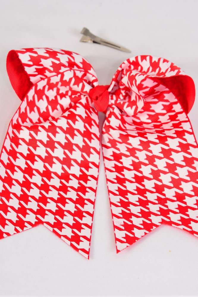 "Hair Bow Extra Jumbo Long Tail Cheer Type Bow Red & White Houndtooth Grosgrain Bow-tie/DZ **Red & White** Alligator Clip,Size-6.5""x 6"" Wide,Clip Strip & UPC Code"