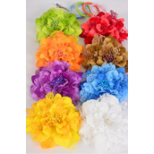 "Silk Flower Jumbo 2 tone Lace Multi/DZ **Multi** Size-6"" Wide,Alligator Clip & Brooch & Elastic Pony,2 Red,2 Purple,2 Yellow,2 White,1 Orange,1 Lime,1 Khaki,1 Blue,8 Color Asst."