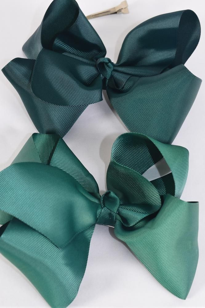 "Hair Bow Cheer Type Bow Hunter Green Alligator Clip Grosgrain Fabric Bow-tie/DZ **Hunter Green Mix** Size-8""x 7"" Wide,Alligator Clip,6 of each Color Asst,Clip Strip & UPC Code"