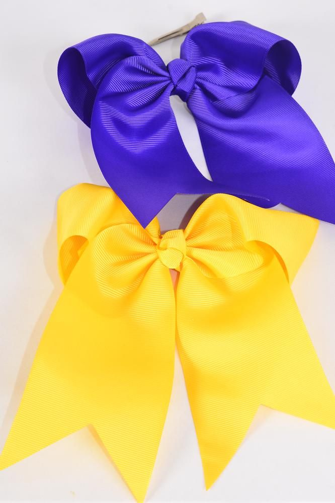 "Hair Bow Extra Jumbo Long Tail Cheer Type Bow Purple & Yellow Mix Grosgrain Bow-tie/DZ **Purple & Yellow Mix** Alligator Clip,Size-6.5""x 6"",6 of each Colotr Asst,Clip Strip & UPC Code"