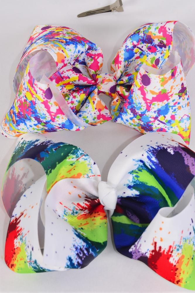 "Hair Bow Jumbo Cheer Type Bow Splatter Grosgrain Bow-tie/DZ **Alligator Clip** Size-8""x 7"" Wide,6 of each Color Asst,Clip Strip & UPC Code"