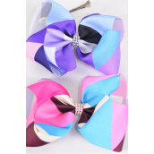 """Hair Bow Extra Jumbo Cheer Type Bow Color Block Center Clear Stone Grosgrain Bow-tie/DZ **Alligator Clip** Size-8""""x 7"""" Wide,6 of each Color Asst,Clip Strip & UPC Code"""
