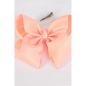 "Hair Bow Extra Jumbo Cheer Type Bow Peach Grosgrain Bow-tie/DZ **Peach** Alligator Clip,Size-8x 7"" Wide,Clear Strip & UPC Code"