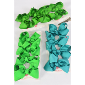 "Hair Bows 48 pcs Grosgrain Bowtie Irish Green Mix/DZ **Irish Green Mix** Alligator Clip,Bow Size-3""x 2"" Wide,4 of each Color Asst,4 pcs per card,12 card=Dozen"