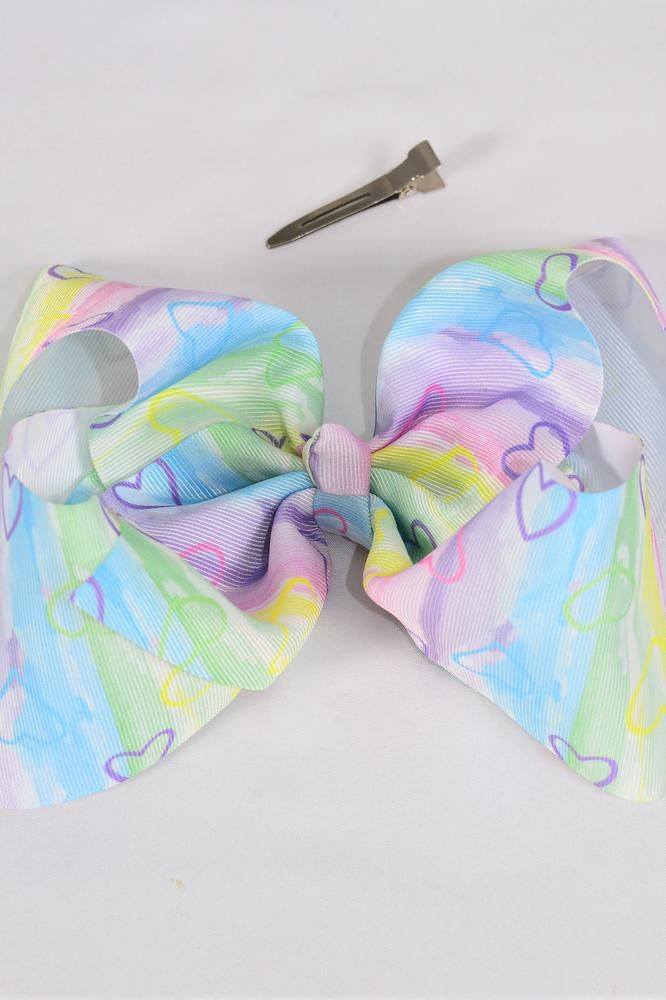 "Hair Bow Jumbo Cheer Type Bow Water Color Heart Paint Grosgrain Bow-tie/DZ **Alligator Clip** Size-8""x 7"" Wide,Clip Strip & UPC Code"