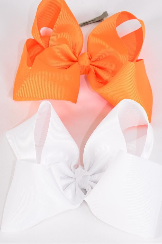 "Hair Bow Cheer Type Bow Orange & White Mix Alligator Clip Grosgrain Bow-tie/DZ **Orange & White Mix** Size-8""x 7"" Wide,Alligator Clip,6 Orange,6 White Color Asst,Clip Strip & UPC Code -"