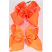 "Hair Bow Cheer Type Bow Orange Mix Alligator Clip Grosgrain Bow-tie/DZ **Orange Mix** Size-8""x 7"" Wide,Alligator Clip,6 of each Color Asst,Clip Strip & UPC Code -"