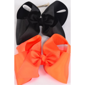 "Hair Bow Cheer Type Bow Orange & Black Mix Alligator Clip Grosgrain Bow-tie/DZ **Orange & Black Mix** Size-8""x 7"" Wide,Alligator Clip,6 of each Color Asst,Clip Strip & UPC Code -"