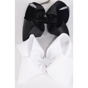 "Hair Bow Jumbo Black & White Mix 6""x 5"" Alligator Grosgrain Fabric Bow-tie/DZ **Alligator Clip** Size-6""x 5"" Wide,6 Black & 6 White Mix,Clip Strip & UPC Code"