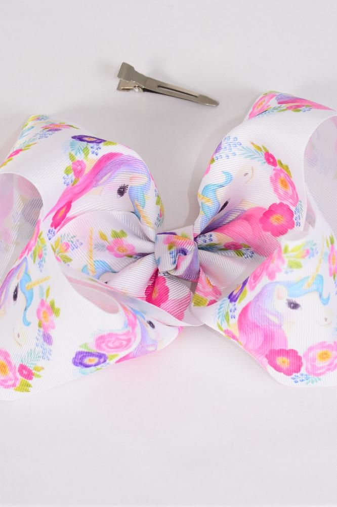 "Hair Bow Jumbo Cheer Type Bow Unicorn Flowers Grosgrain Bow-tie/DZ **Alligator Clip** Size-8""x 7"" Wide,Clip Strip & UPC Code"