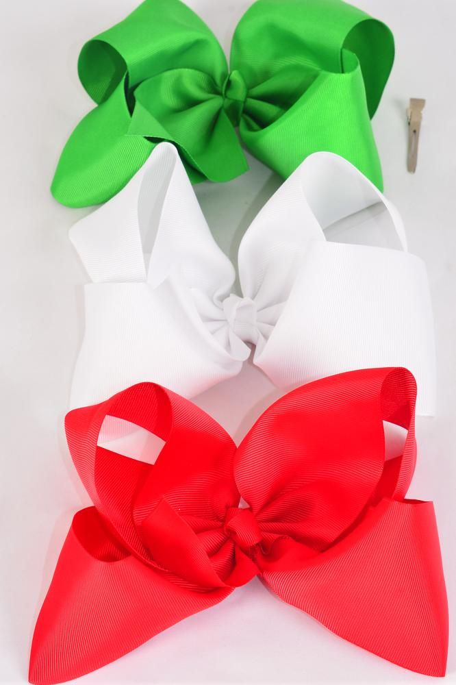 "Hair Bow Jumbo Large XMAS Bow Red White Green Mix Grosgrain Bowtie/DZ **Alligator Clip** Size-6""x 5"" Wide,4 of each Color Asst,Clip Strip & UPC Code."