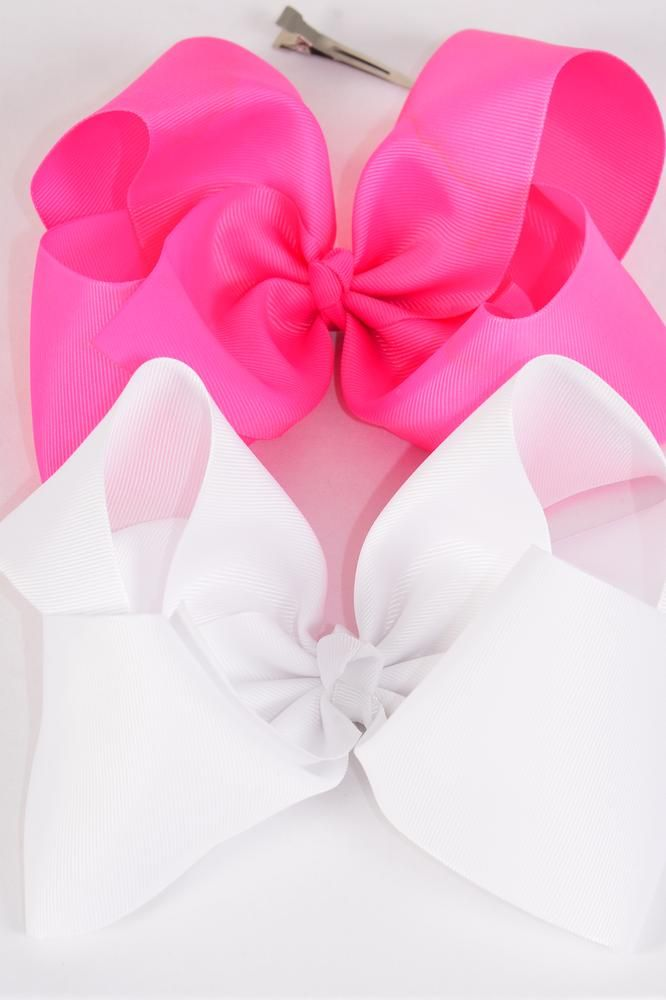 "Hair Bow Extra Jumbo Cheer Type Bow Hot Pink & White Mix Grosgrain Bow-tie/DZ **Hot Pink & White** Alligator Clip,Size-8x 7"" Wide,6 of each Color Asst,Clear Strip & UPC Code"