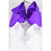 "Hair Bow Extra Jumbo Lilac & White Mix Grosgrain Bow-tie/DZ **Lilac & White Mix** Alligator Clip,Size-6""x 5"" Wide,6 of each Color Asst,Clip Strip & UPC Code"