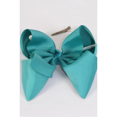"Hair Bow Extra Jumbo Teal Green Grosgrain Bow-tie/DZ **Teal Green** Alligator Clip,Size-6""x 5"" Wide,Clip Strip & UPC Code"