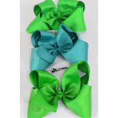 "Hair Bow Jumbo Kelly Green Mix Grosgrain Fabric Bow-tie/DZ **Kelly Green Mix** Alligator Clip** Size-6""x 5"" Wide,4 of each Color Ast,Clip Strip & UPC Code"