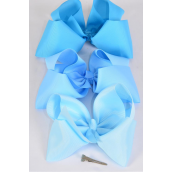 """Hair Bow Cheer Type Bow Blue Mix Alligator Clip Grosgrain Fabric Bow-tie/DZ **Blue Mix** Size-8""""x 7"""" Wide,Alligator Clip,4 of each Color Ast,Clip Strip & UPC Code -"""