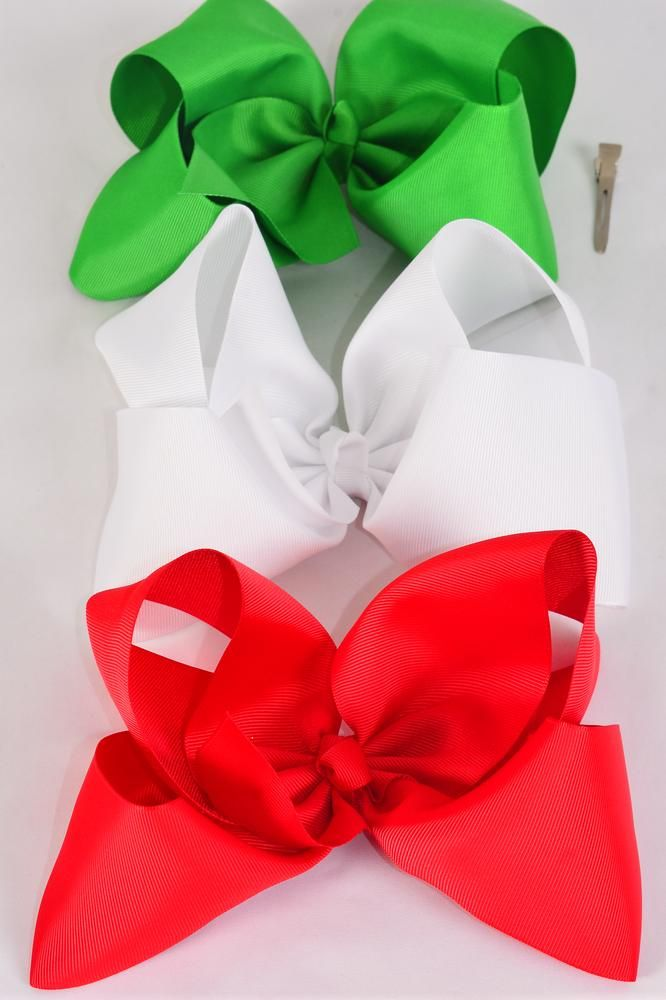 "Hair Bow Extra Jumbo Cheer Type Bow XMAS Bow Red White Green Mix Grosgrain Bowtie/DZ **Alligator Clip** Size-8""x 7"" Wide,4 of each Color Asst,Clip Strip & UPC Code."