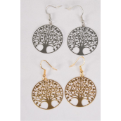 "Earrings Laser Cut Stainless Steel Tree of Life G/S/DZ **Fish Hook** Size-1.25"" Wide,6 Silver & 6 Gold Mix,Earring Card & OPP bag & UPC Code"