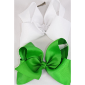 "Hair Bow Jumbo Irish Green & White Mix Grosgrain Fabric Bow-tie/DZ **Irish Green & White Mix** Alligator Clip** Size-6""x 5"" Wide,6 of each Color Ast,Clip Strip & UPC Code"