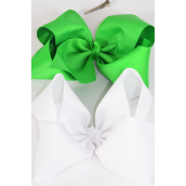 "Hair Bow Cheer Type Bow Irish Green & White Mix Grosgrain Bow-tie/DZ **Irish Green & White ** Size-8""x 7"" Wide,Alligator Clip,6 of each Color Asst,Clip Strip & UPC Code"