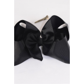"Hair Bow Jumbo Black 6""x 5"" Alligator Clip Grosgrain Fabric Bow-tie/DZ **Black** Alligator Clip,Size-6""x 5"" Wide,Display Card & UPC Code,W Clear Box"