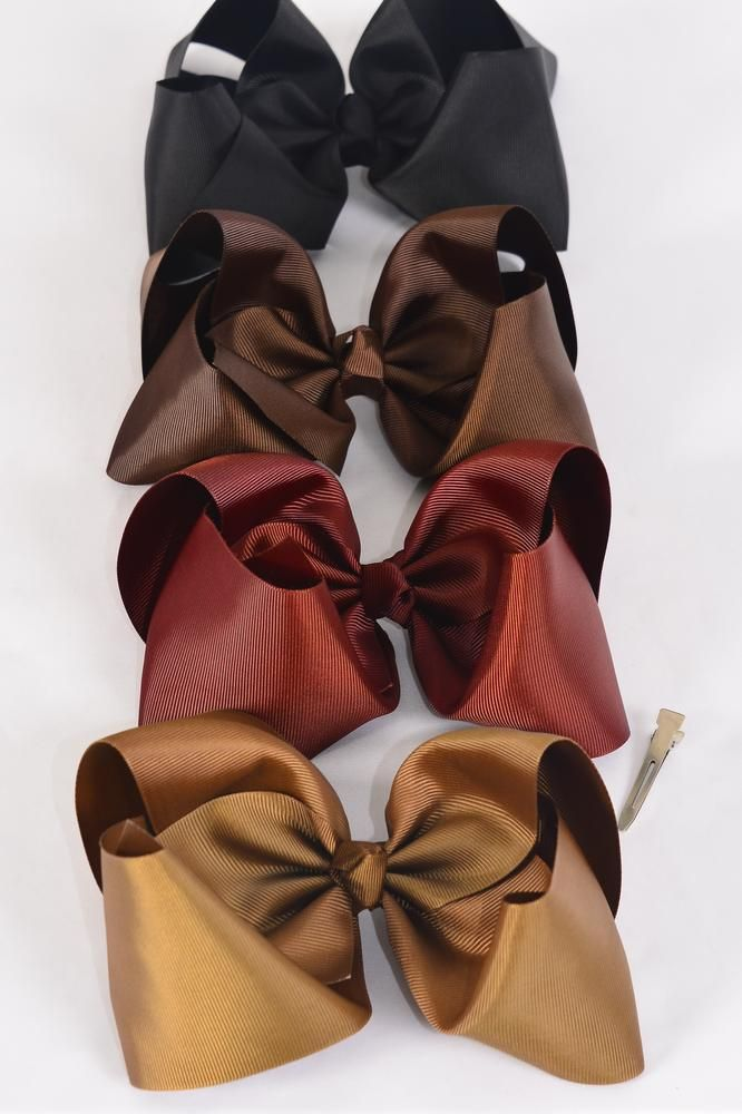 "Hair Bow Cheer Type Bow Brown tone Alligator Clip Grosgrain Bow-tie/DZ **Brown Tone Mix** Size-8""x 7"" Wide,Alligator Clip,3 of each color mix,Clip Strip & UPC Code"