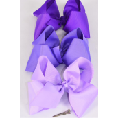 "Hair Bow Extra Jumbo Cheer Type Bow Purple Mix Grosgrain Bow-tie/DZ **Alligator Clip** Size-8""x 7"",4 Purple,4 Delphinium,4 Lavender Mix,Clip Strip & UPC Code"