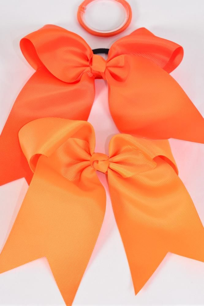 "Hair Bow Extra Jumbo Long Tail Cheer Type Bow Elastic Orange Mix Grosgrain Bow-tie/DZ **Orange Mix** Elastic,Size-6.5""x 6"" Wide,6 of each Color Asst,Clip Strip & UPC Code"