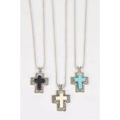 "Necklace Silver Chain Cross Semiprecious Stone/DZ Pendant-1.75""x 1.25"" Wide,Chain-18"" Extension Chain,4 Ivory,4 Black,4 Turquoise Asst,Hang Tag & OPP Bag & UPC Code"