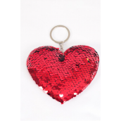 "Key Chain Flip Sequin Jumbo Red Heart/DZ **Red** Size-4.5""x 3.25 Wide, OPP Bag"