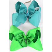 "Hair Bow Extra Jumbo Irish Green & Teal Green Mix Grosgrain Bow-tie/DZ **Irish Green & Teal Green** Alligator Clip,Size-6""x 5"" Wide,6 of each Color Asst,Clip Strip & UPC Code"