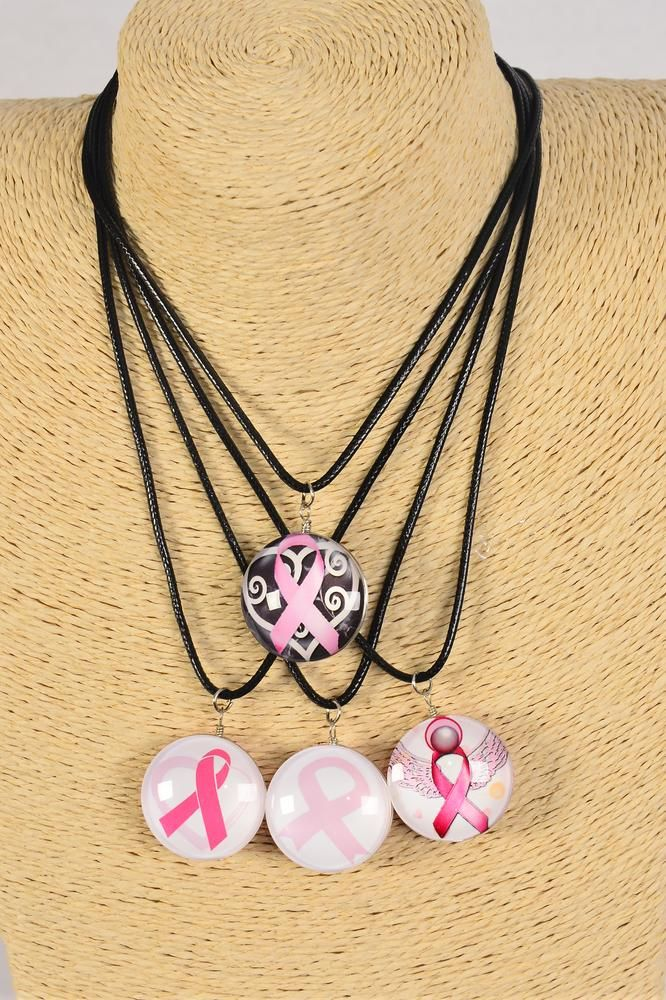 "Necklace Black Pink Ribbon Double Sided Glass Dome/DZ match 03066 Pendant Size-1.25"" Wide,Necklace 18"" Long Extension Chain,2 of each Style Asst,Hang Tag & OPP Bag & UPC Code"