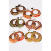 "Earrings Acrylic Fall Circles Dangle Stripes Clip On/DZ match 26086 **Clip On** Size-2.25"",Finish 2 Sides,2 of each Color Asst,Earring card & Opp Bag & UPC Code"