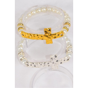 "Bracelet Side Way Cross 10 mm Glass Pearls Stretch **Stretch** Cross Size-2.5""x 1"" Wide,6 Gold,6 Silver Asst,Hang Tag & OPP bag & UPC Code -"
