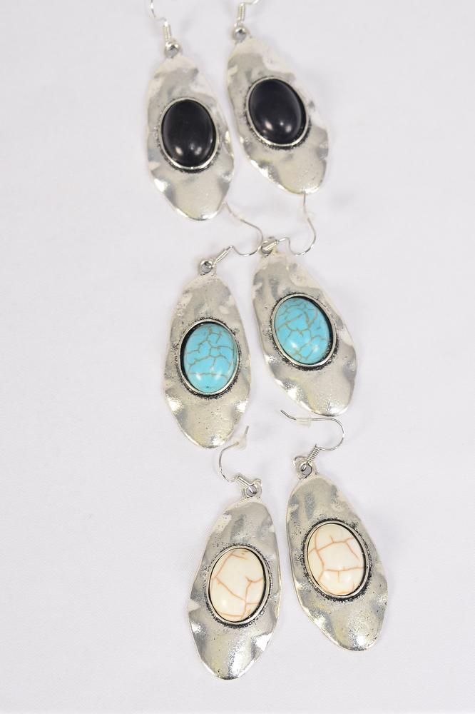 "Earrings Metal Antique Oval Semiprecious Stone/DZMatch 70084 **Fish Hook** Size-2""x 1"" Wide,4 Black,4 Ivory,4 Turquoise Asst,Earring Card & OPP Bag & UPC Code -"