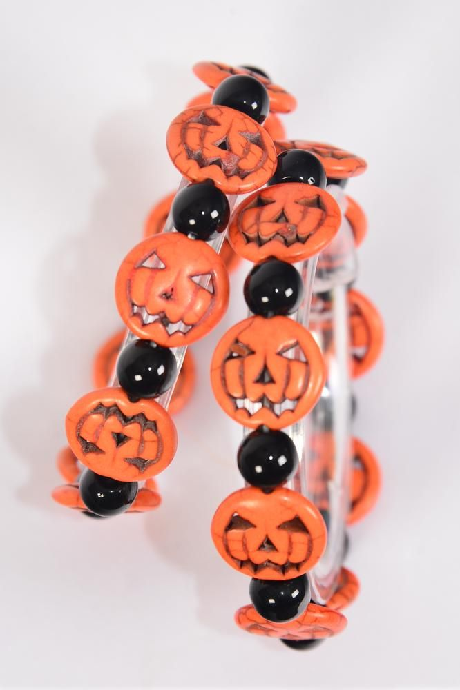 Bracelet Halloween Pumpkin 8 mm Beads Semiprecious Stones Black & Orange Mix/DZ match 03120 **Stretch** Hang Tag & Opp Bag & UPC Code