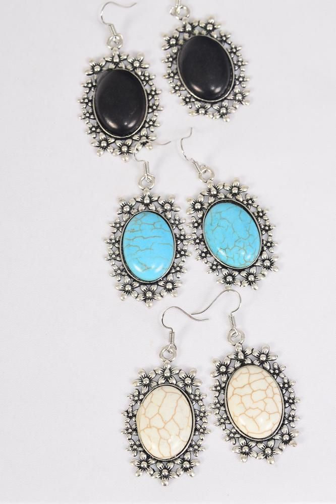 "Earrings Metal Antique Oval Semiprecious Stone/DZ **Fish Hook** Size-1.75""x 1.25"" Wide,4 Black,4 Ivory,4 Turquoise Asst,Earring Card & OPP Bag & UPC Code -"