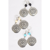 "Earrings Metal Antique Aztec Semiprecious Stone/DZ **Fish Hook** Size-2""x 1.25"" Wide,4 Black,4 Ivory,4 Turquoise Asst,Earring Card & OPP Bag & UPC Code -"