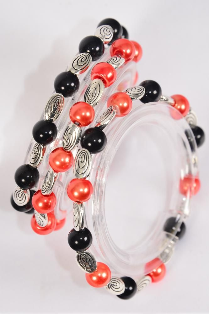 Bracelet 8 mm Glass Pearl Black & Orange Mix Rhinestone Bezel All Around Stretch/DZ **Stretch** 6 Orange Black Mix,3 Oranger,6 Black,3 Color Asst,Hang Tag & Opp Bag & UPC Code